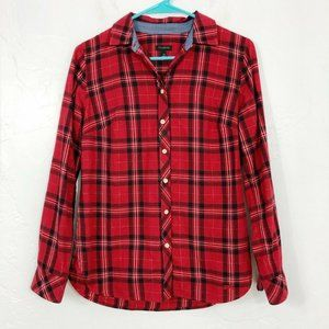 Talbots Red Black Gold Long Sleeve Button Down Top